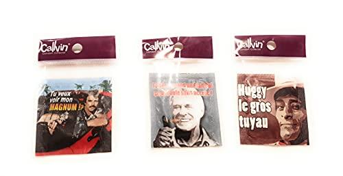 Calvin- Set di 3 preservativi divertenti, scritte: huggy il grande tubo, tu voglio vedere il mio magnum, ammo quando un piano..