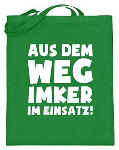 shirt-o-magic Imkern: Imker im Einsatz! - Jutebeutel (mit langen Henkeln) -38cm-42cm-Helles Grün