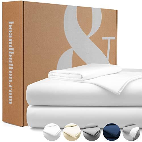 bo&button® Mako Satin Bettwäsche, echte Luxusqualität, Set 135x200 cm, 100% feinste GOTS Bio Baumwolle, Weiß