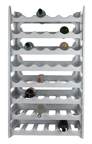 ARTECSIS Weinregal stapelbar Kunststoff für 48 Flaschen, stabiles leichtes Flaschenregal für Keller, Gastronomie und Lagerraum, modular erweiterbare Flaschen- und Weinlagerung, Granit grau