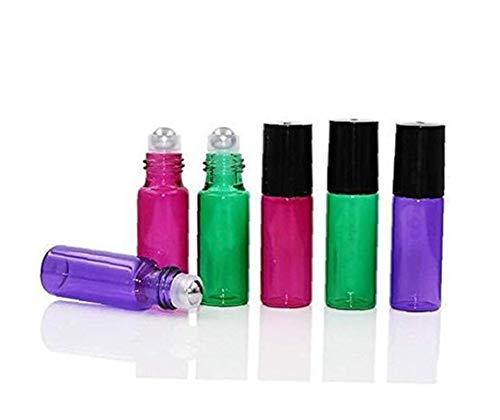 6pcs 5ml De Cristal Vacía De Roll-on Botella Botellas Giratorias Vial Titular...