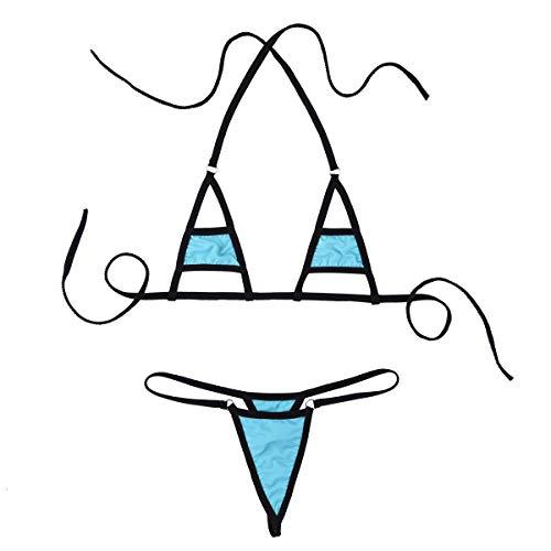 dPois Micro Bikini Mujer Push Up Braga Alta Sexy Mini Bikinis Brasileños Bañador Traje de Baño Conjunto de Lencería Erótica Ropa Interior Braguitas G-String Azul Claro One Size