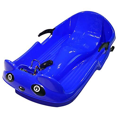 Bob Schlitten Kinder mit Lenkrad Lenkschlitten Schneebob Skibob, 2 Griffe mit Stabilität und Bremsschutz (Blau)