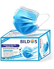Bildos Nonwoven Fabric Face Masks with Adjustable Nose Clip and Ultrasonic Sealed Ear Loop (Blue, 100 Pieces) for Unisex