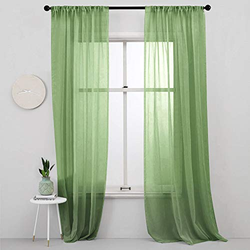MRTREES Sheer Curtains Green 84 inches Long Living Room Curtain Sheers Bedroom Drapes Transparent Voile Window Curtain Panels Sliding Glass Door Rod Pocket 2 Panels Light Filtering