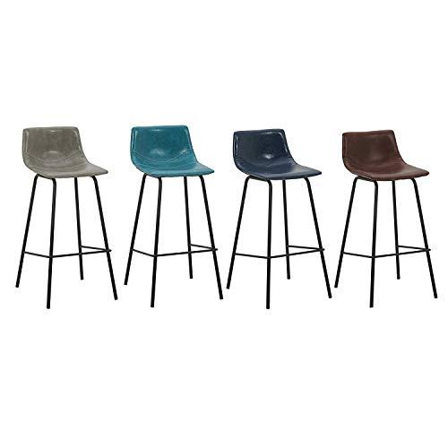 ZHJBD Meubelkruk/Zijstoel met lage rug, Barkruk met PU Gestoffeerde Zitting en Zwarte Metalen Been, Hoogte teller 29,5 inch, 330 lbs Capaciteit