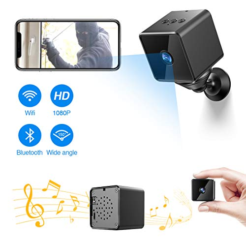 Bluetooth Mini Spy Camera,ZZCP WiFi Hidden Camera HD 1080P Portable Nanny Cam with Night Vision,Motion Detection and Bluetooth Speaker,Indoor Outdoor Wireless Home Security Surveillance IP Camera
