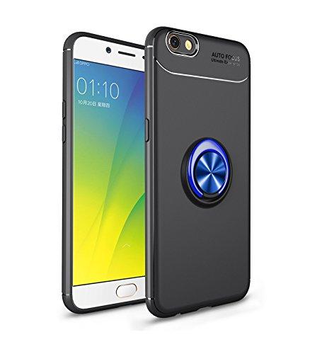 Jardire Kompatibel Oppo F3 Plus Hülle Schwarz Blau, hergeben (2 Stück) 3D HD Panzerglas Schutzfolie, ständer für Handy Smartphone, Ultraleichte TPU-Autohalterung mit unsichtbarem Magnetring