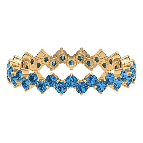 1 CT creado en laboratorio, anillo de zafiro azul ártico, anillo de boda para mujer, anillo de zig zag dorado (2 mm de forma redonda, 14K Oro amarillo, Size:EU 53