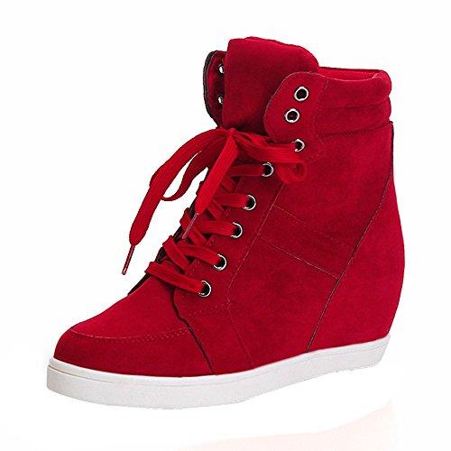 Zapatos Botas,ZARLLE Mujeres De Moda OtoñO Invierno Dedo del Pie Redondo De Encaje-Botas De Cuero Fiesta Zapatos Casuales Zapatos Deportivos Boots TalóN De CuñA Botas Altura