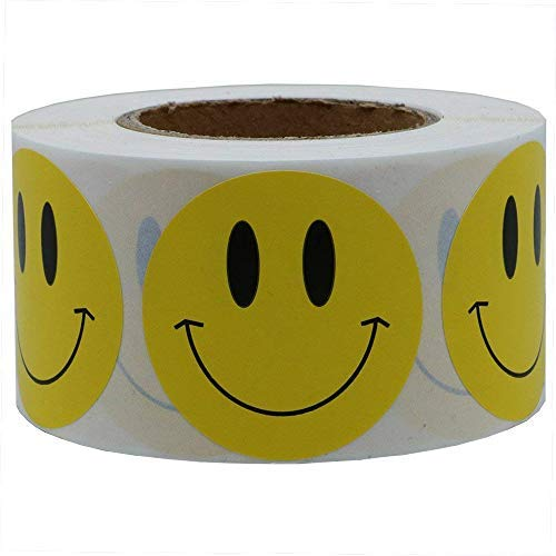 DREAM ART 1 inch Smiley Face Stickers Roll Happy Face Stickers Circle Dots Paper Labels Reward Stickers Teachers Stickers 1000 Pieces per Roll