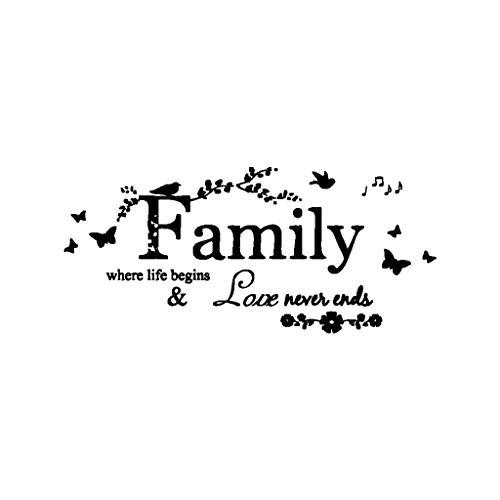 UKtrade Popular 'Familia' etiqueta de pared removible reglas de cocina palabras pegatinas de pared calcomanía decoración del hogar vinilo arte mural