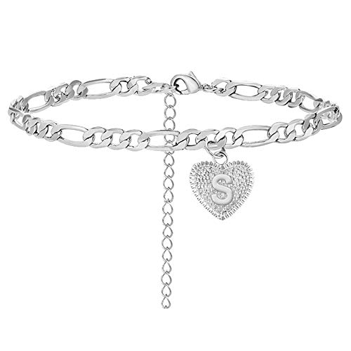choice of all S Ankle Bracelet for Women Silver Initial Anklet Figaro Cuban Link Bracelet with Initials Anklets Bracelets for Girls Beach Jewelry (S)