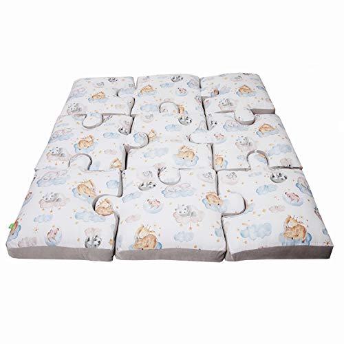 LULANDO Spielmatte Puzzle aus der Serie Art Collection, 145 cm x 145 cm x 9 cm (+/- 2 cm), im Set 9 Kissen, hohe Materialqualität, 100% Baumwolle (Sleepy)