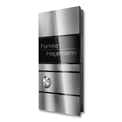 Metzler Funkklingel Edelstahl inkl. Gravur, Funk-Gong & Batterien - Aufputz-Türklingel (1 Steckdosen-Empfänger)