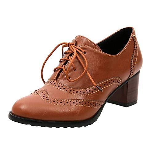 Brogues Damen Blockabsatz Leder Schnürhalbschuhe Low Top Lederschuhe Oxford 6cm Absatz Schuhe Elegante Vintage Schwarz Braun Beige Gr.34-43 BR38