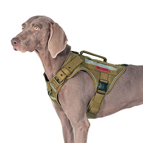 OneTigris Tactical Dog Harness No Pulling Adjustable Pet Harness Reflective K9 Working Training Pet Vest Military Service Dog Harness Easy Control for Medium Large Dogs(Coyote Brown,L)