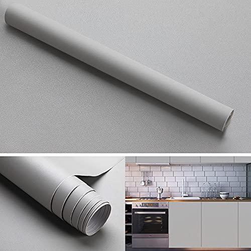 KINLO Klebefolie matt verdickte PVC Küchenfolie hellgrau, 40 x 300 cm Möbelfolie Selbstklebende ohne Glanz Tapeten Oberflächenschutz wasserdicht Anti Schimmel für Möbel Arbeitsplatte Wände Tür Schrank