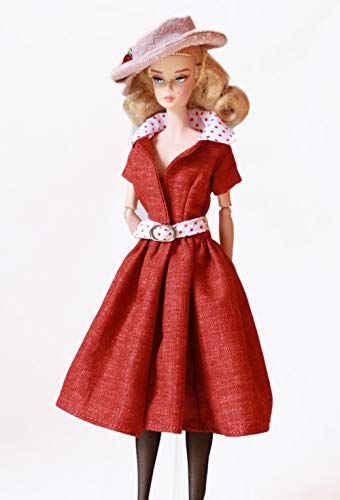 Handmade Cherry Red Dress with Belt and Hat Designed for Barbie Fashion Royalty and Silkstone