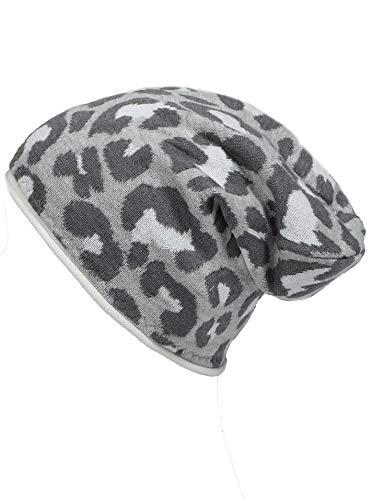 Zwillingsherz Slouch-Beanie-Mütze mit Baumwolle - Hochwertige Strickmütze mit Leo Design für Damen Mädchen Jungen 2020 - Hat - One Size - Frühjahr Sommer Herbst und Winter - grau
