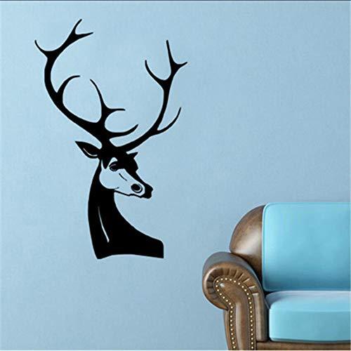 Wandtattoos Art Decor Abnehmbare Wandtattoo Deer Head Sticker Kinderheim Diy Child Wallpaper Decals 3D-Design Hausdekoration 91 X 58 Cm