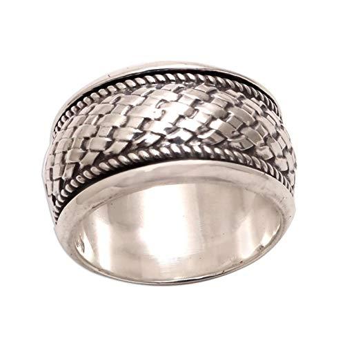 EzzySo Anillo Tejido de círculo Completo, joyería Estadounidense Ring Temperament Anillo Joyería (2 PCS),7