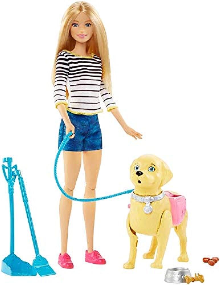 Barbie,a spasso coi cuccioli con cagnolino che fa i bisogni e accessori DWJ68