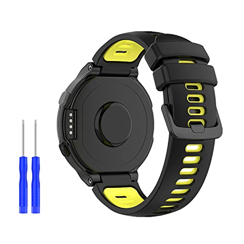 Huabao Correa Compatible con Garmin Forerunner 220,Ajustable Silicona Deportiva Band Repuesto Pulsera para Garmin Forerunner 220 / 735XT / 620/630 / 235/230 Reloj Inteligente (Negro y Amarillo)