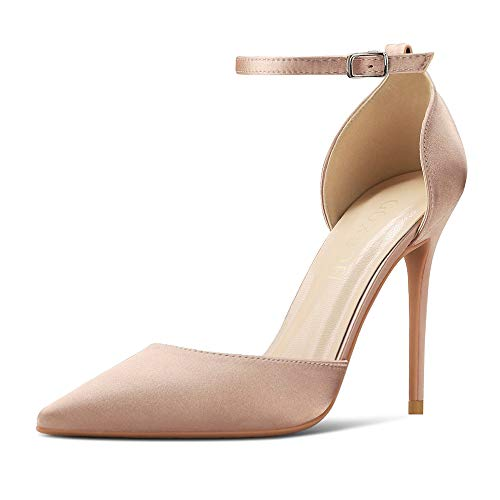 GOXEOU Zapatos de corte de mujer con correa al tobillo de raso puntiagudo, tacón de aguja sexy D'Orsay, vestido de fiesta, boda, zapatos de tacón, color Rosa, talla 35.5 EU