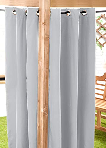 Gardenista Water Resistant Outdoor Eyelet Curtain | Private Areas for Patio, Gazebo or Balcony | Windproof and Sun Protection | Durable and Easy Clean | 55' x 96' (Grey)