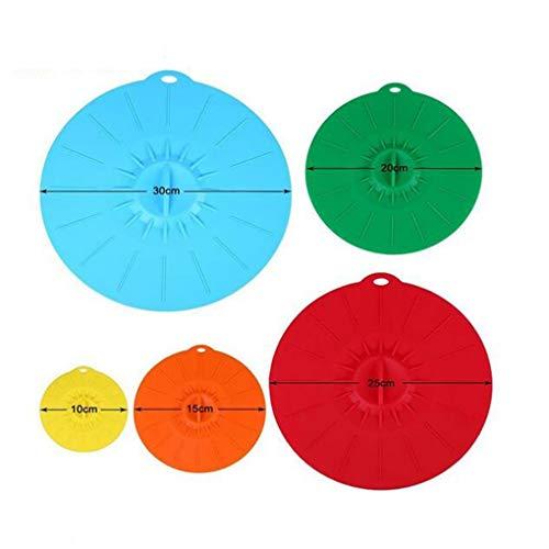 Yihaifu 5 PC/Conjunto de Cierre de succión de Silicona Tapa Coloque la cubeta Cubierta de la cavidad de microondas Tapa Taza del Casquillo de Alimentos Tapa de Cierre de Almacenamiento