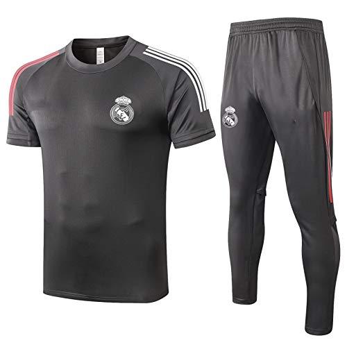 LQRYJDZ Real Madrid Men's Gym T-Shirt + Sportslong Pantalones Una húmedo Wicking Seco Seco tee Transpirable Running Gimnasio Fútbol Entrenamiento Maratón Entrenamiento Atlético Traje (Size : L)