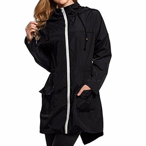 Toamen Femmes Manteau coupe-vent Sweat à capuche imperméable Imperméable Manteau de randonnée coupe-vent Taille Section moyenne et longue Veste coupe-vent chaude Poids léger(L2,Noir)