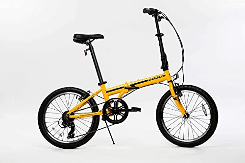 ZiZZO Campo 20 inch Folding Bike with Shimano 7-Speed, Adjustable Stem, Light Weight Aluminum Frame (Yellow)