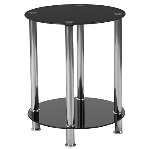 Flash Furniture Riverside Collection Black Glass End Table with Shelves and Stainless Steel Frame