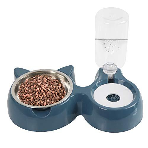 Speyang Comedero para Perro Gato, Cuenco del Gato Doble Tazón, Comedero Automático para Mascotas y Dispensador de Agua Azul 2 en 1, para Mascotas, Perros, Gatos, con Cuencos de Acero Inoxidable