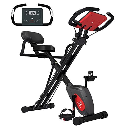 Advenor - Banda de resistencia magnética para bicicleta de fitness con respaldo de brazo, para uso en interiores y en el hogar, Negro&Rojo