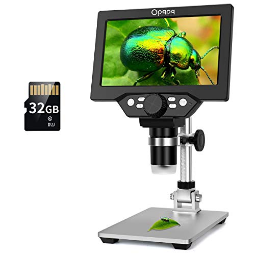7' LCD Digital Microscope with 32GB TF Card, 1-1200X Magnification 1080P Video Microscope for Kids,12MP Electron Microscope Camera with Metal Stand, PC View, Windows/Mac OS Compatible