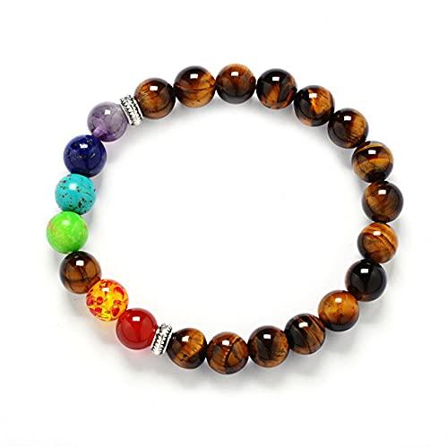 Plant Gift Pulsera de Lava, Beads Pulsera para Hombres Mujeres Pulsera de Yoga, Pulsera de Buda con Piedras Naturales de Lava y Ojo de Tigre y Ónix (Tiger Eye)