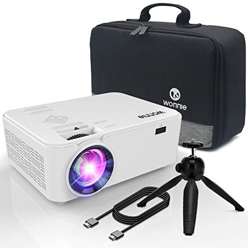 """WONNIE Projector, Mini Projector 2200 Lumens 170"""" Display, Multimedia Home Theater Video Projector, 1080P Support Compatible TV Stick HDMI VGA USB AV TF Device, 4Inch"""