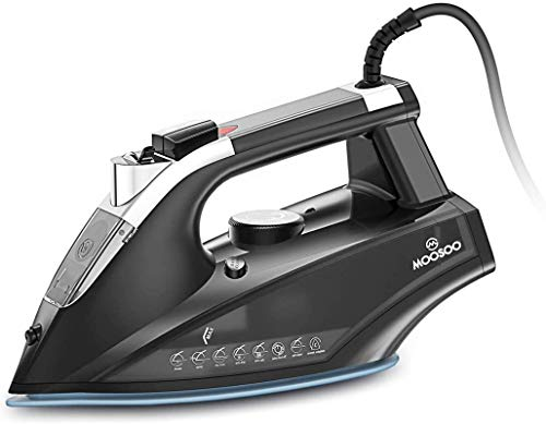 MOOSOO Steam Iron 1800W,Steam-Dry Iron for Clothes, Non-Stick Soleplate Home Steam Iron, Anti-drip Iron with Auto-Off, Steam Control System, 470mL Water Tank
