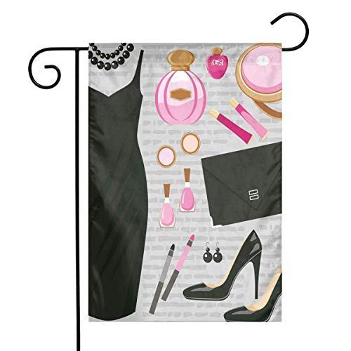 N/A Talons et Robes Noir Robe de Cocktail Intelligente Parfum Maquillage Pochette Noir Rose Clair Marron Clair Un Côté 12 X 18 Pouces