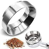 GIAK Embudo dosificador para café expreso de acero inoxidable, 54 mm, anillo dosificador de café, soporte de filtro, embudo para rellenar con precisión el café en polvo, accesorio de barista