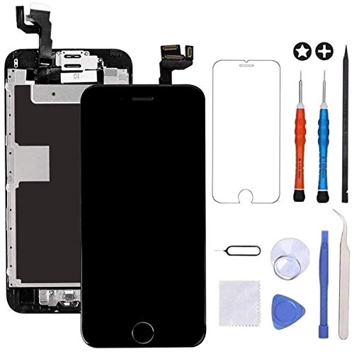 GULEEK for iPhone 6s Screen Replacement Black Touch Display LCD Digitizer Full Assembly with Front Camera,Proximity Sensor,Ear Speaker and Home Button Including Repair Tool and Screen Protector