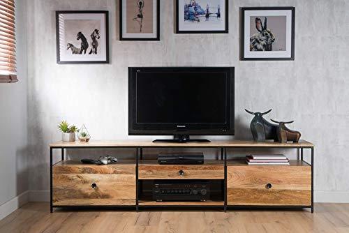 Casa Bella Furniture 200cm Industrial Light Mango Wood Media Unit