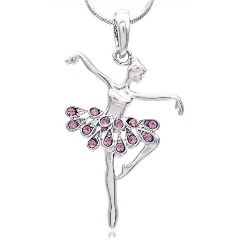 Soulbreezecollection Dancing Ballerina Dancer Ballet Dance Pendant Necklace Charm (Lavender)