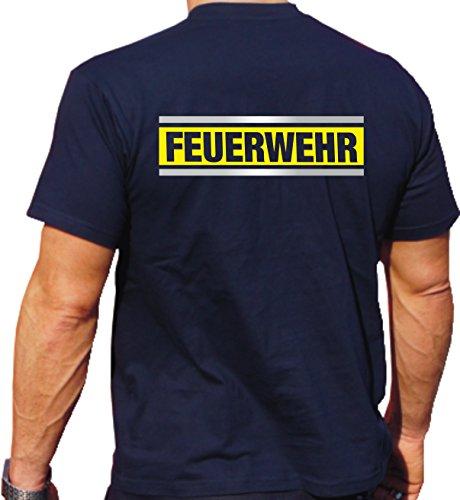 T-Shirt navy, FEUERWEHR silber/neongelb/silber