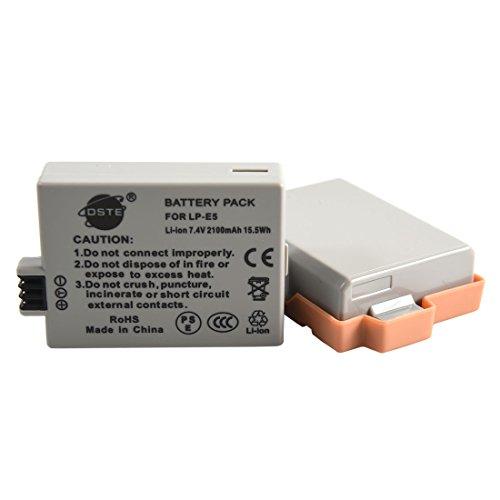 DSTE 2-Pacco Ricambio Batteria per Canon LP-E5 EOS 450D 500D 1000D Kiss F X2 X3 Rebel XS XSi T1i