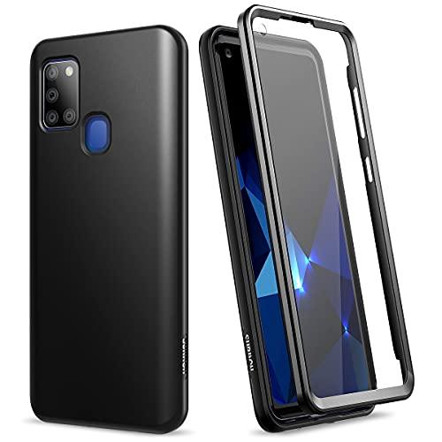 SURITCH Hülle für Samsung Galaxy A21s Handyhülle Bumper Glitzer Hülle Stossfest Hülle 360 Grad Schutzhülle Cover mit Integriertem Bildschirmschutz (Schwarz)