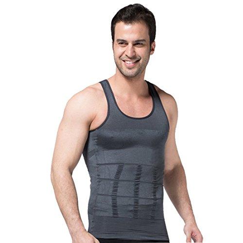 ZeroBodys - SS-M01 - Camiseta compresora para hombre, estilizante, modelante, faja adelgazante, color gris, SS-M01, gris, Large 🔥